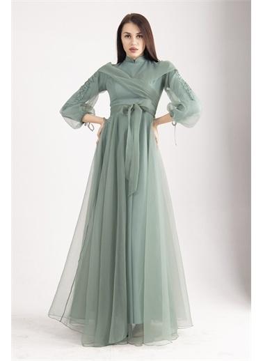 Belamore  Kolları Işlemeli Dalya Kumaş Abiye&Mezuniyet Elbisesi 6502276.332 Yeşil